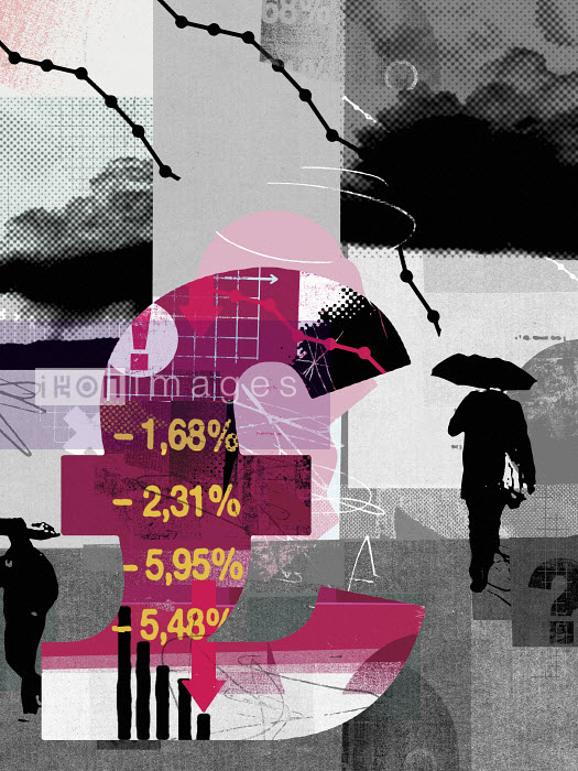 British pound sign with declining financial data and gloomy overcast sky - British pound sign with declining financial data and gloomy overcast sky - Stuart Kinlough