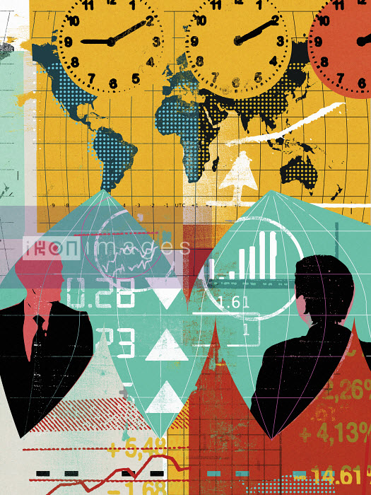 Businessmen with world map, financial data and international time zone clocks - Businessmen with world map, financial data and international time zone clocks - Stuart Kinlough