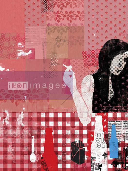 Woman at table smoking cigarette - Woman at table smoking cigarette - Stuart Kinlough