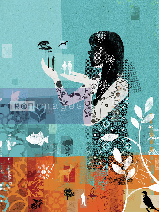 Collage of woman caring for nature - Collage of woman caring for nature - Stuart Kinlough