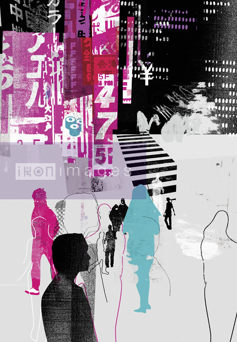 People walking in Japanese city - People walking in Japanese city - Stuart Kinlough
