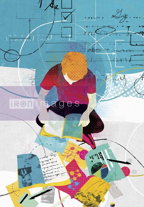 Collage of teenage boy studying range of education subjects - Collage of teenage boy studying range of education subjects - Stuart Kinlough