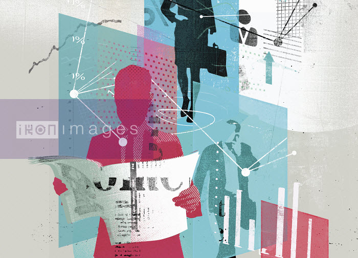 Collage of business people, graphs, data and connections - Collage of business people, graphs, data and connections - Stuart Kinlough