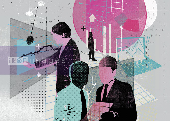 Collage of businessmen analyzing business data - Collage of businessmen analyzing business data - Stuart Kinlough