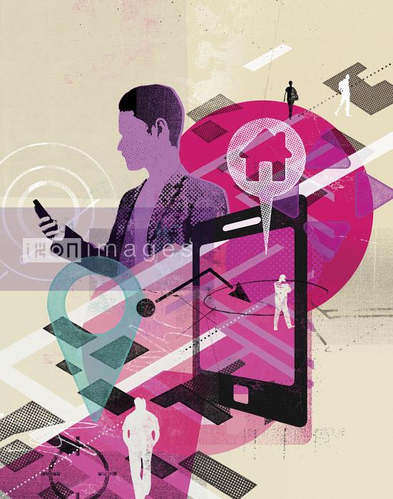 Man using global positioning system on smart phone app - Man using global positioning system on smart phone app - Stuart Kinlough