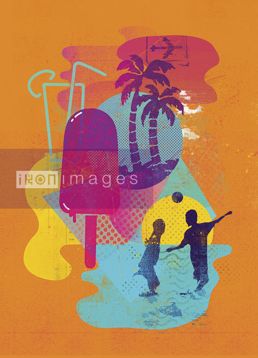 Children playing in sea in summer holiday travel montage - Children playing in sea in summer holiday travel montage - Stuart Kinlough