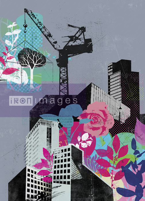Crane building city with plants and flowers - Crane building city with plants and flowers - Stuart Kinlough