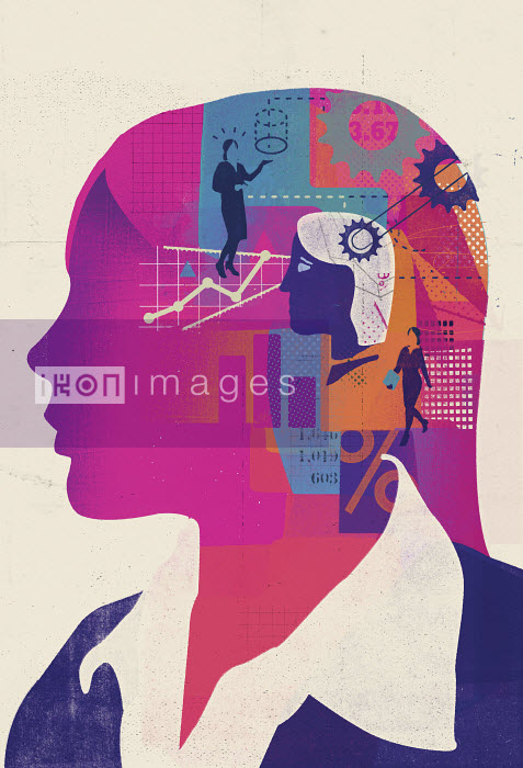 Businesswoman thinking with head full of ideas and data - Businesswoman thinking with head full of ideas and data - Stuart Kinlough