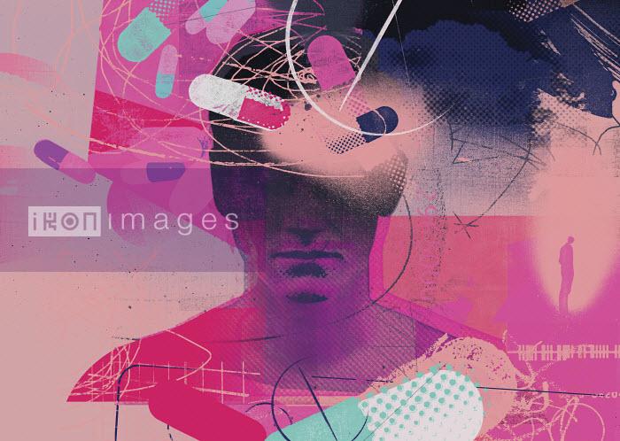 Drugs swirling around man's head - Drugs swirling around man's head - Stuart Kinlough