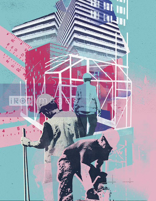 Collage of construction workers working on building site - Collage of construction workers working on building site - Stuart Kinlough