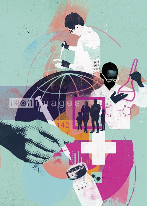 Global science and medicine montage - Stuart Kinlough