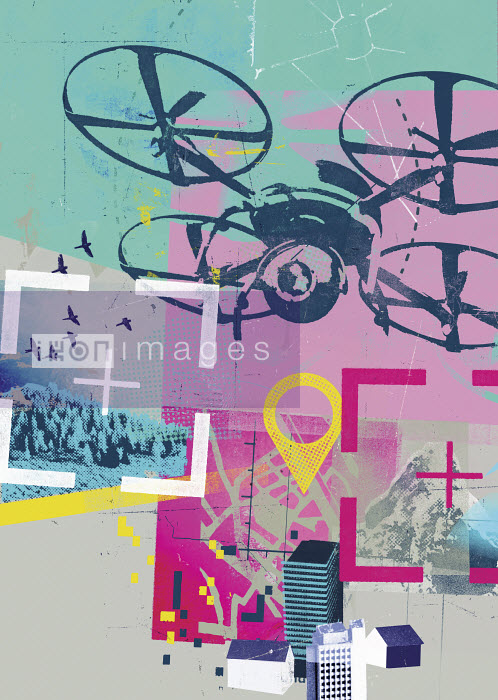 Drone photographing in global positioning system collage - Stuart Kinlough