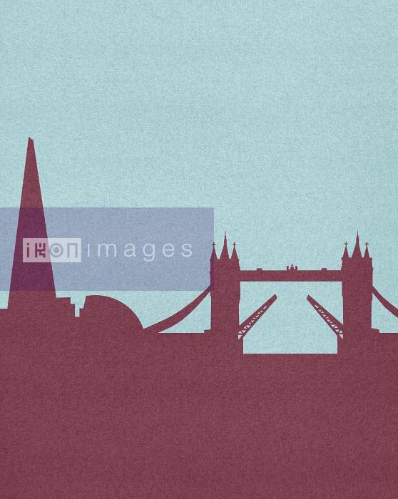 Silhouetted skyline of Tower Bridge, London, - Silhouetted skyline of Tower Bridge, London, - Marcus Butt