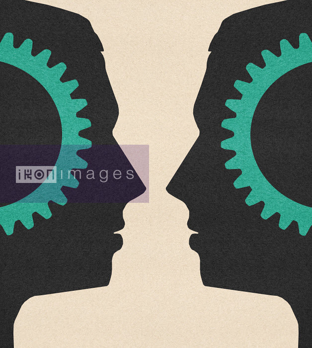 Symmetrical cogs inside of men's heads face to face - Symmetrical cogs inside of men's heads face to face - Marcus Butt