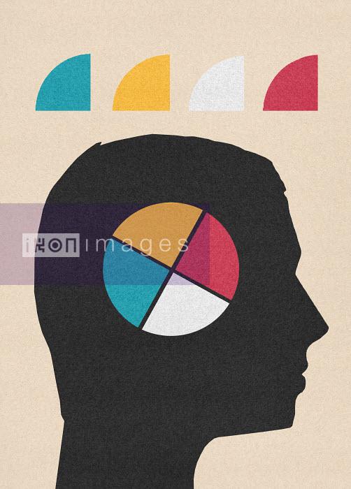 Multicolored pie chart inside of man's head - Multicolored pie chart inside of man's head - Marcus Butt