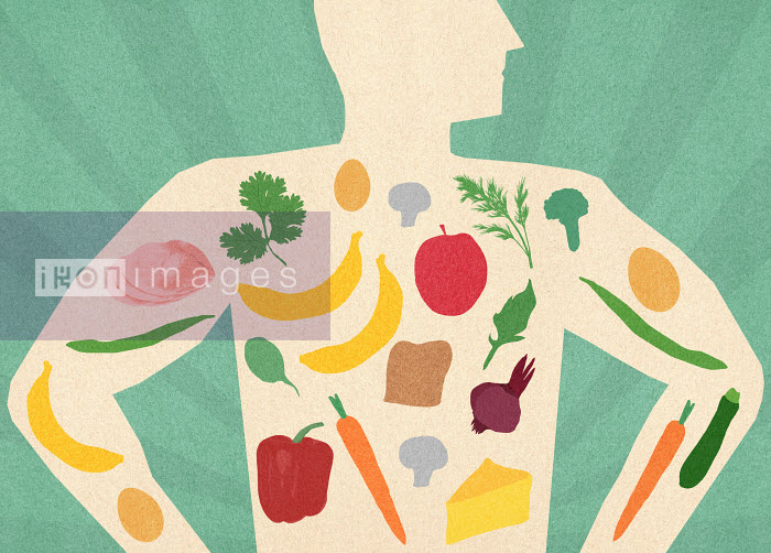 Variety of healthy food inside of man's body - Variety of healthy food inside of man's body - Marcus Butt