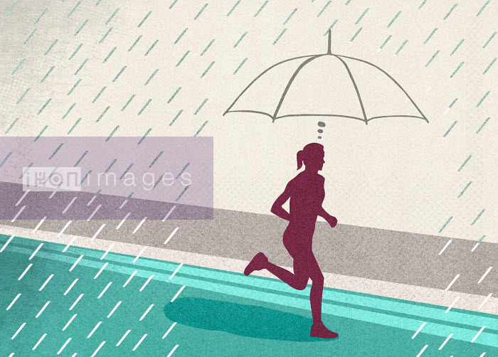 Focused woman protected from rain by imagining umbrella while running - Focused woman protected from rain by imagining umbrella while running - Marcus Butt