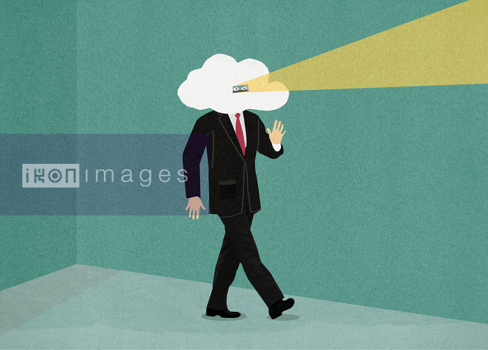 Businessman with head in the clouds looking through peephole - Businessman with head in the clouds looking through peephole - Marcus Butt