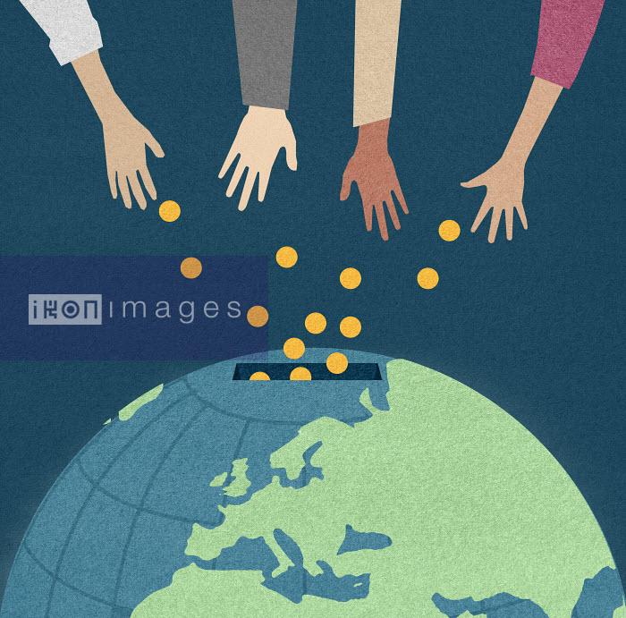 Hands donating money into world money box - Hands donating money into world money box - Marcus Butt