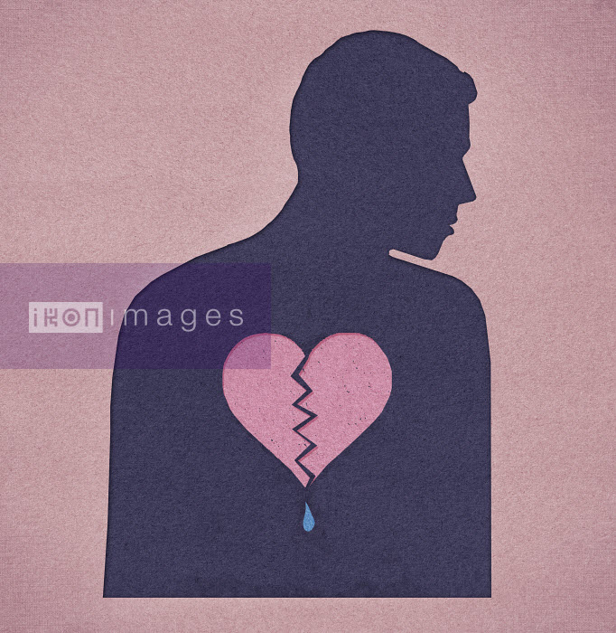 Silhouette of man with a broken heart - Silhouette of man with a broken heart - Marcus Butt