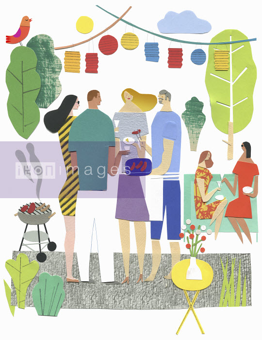 Stephanie Wunderlich - Friends socializing and enjoying barbecue on patio