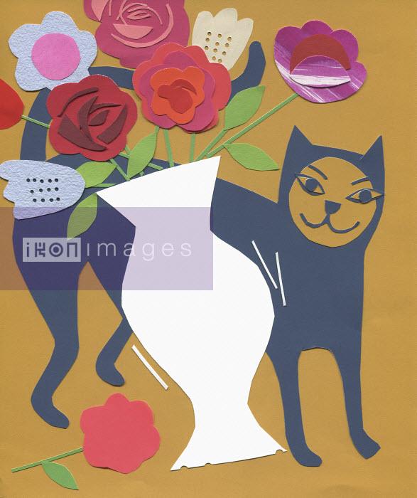 Stephanie Wunderlich - Cat knocking flower vase over