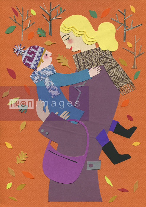 Autumn leaves falling around mother hugging son face to face - Autumn leaves falling around mother hugging son face to face - Stephanie Wunderlich