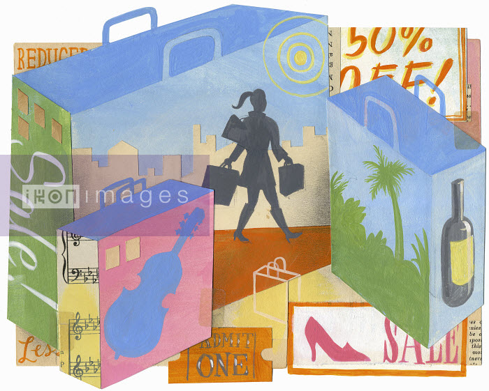 Montage of woman on sales shopping spree with lots of shopping bags - Montage of woman on sales shopping spree with lots of shopping bags - Leigh Wells