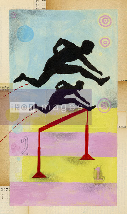 Athlete jumping higher than opponent over hurdle - Athlete jumping higher than opponent over hurdle - Leigh Wells
