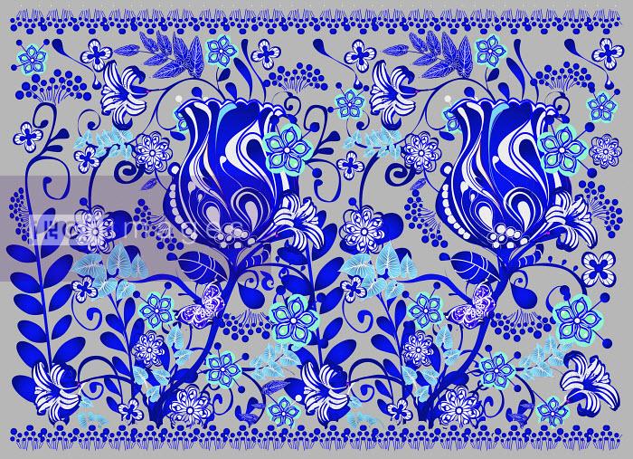 Bright blue floral pattern - Bright blue floral pattern - Coral Hernandez Finol