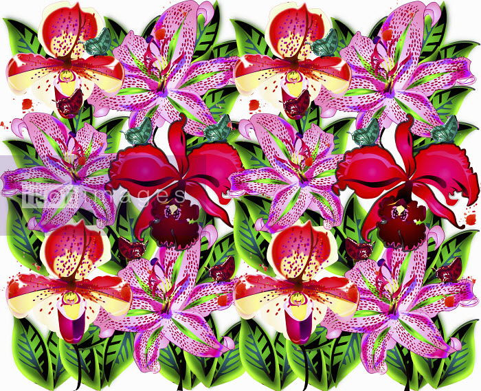 Bright color pink and red repeat floral pattern - Bright color pink and red repeat floral pattern - Coral Hernandez Finol