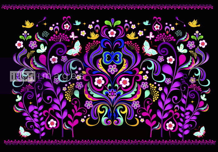 Fluorescent colorful symmetrical floral pattern on black background - Fluorescent colorful symmetrical floral pattern on black background - Coral Hernandez Finol