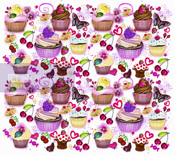 Cupcakes, fruit and butterflies pattern - Cupcakes, fruit and butterflies pattern - Coral Hernandez Finol