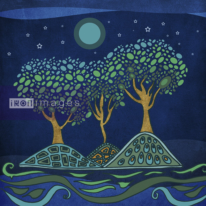 Green and blue trees on island under full moon - Green and blue trees on island under full moon - Viviana Gonzalez
