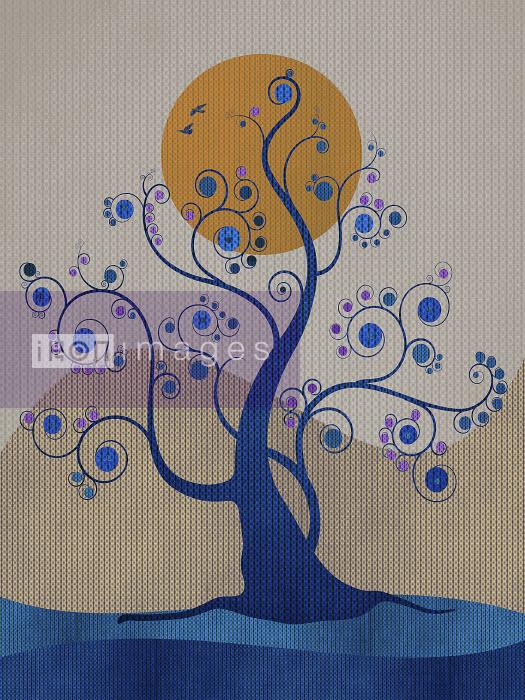 Sun behind delicate tendrils on blue tree - Sun behind delicate tendrils on blue tree - Viviana Gonzalez