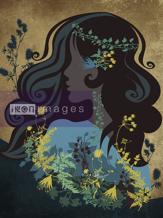 Hippy woman with flowers and leaves in hair - Hippy woman with flowers and leaves in hair - Viviana Gonzalez