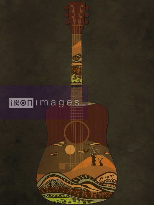 Guitar decorated with idyllic landscape - Guitar decorated with idyllic landscape - Viviana Gonzalez