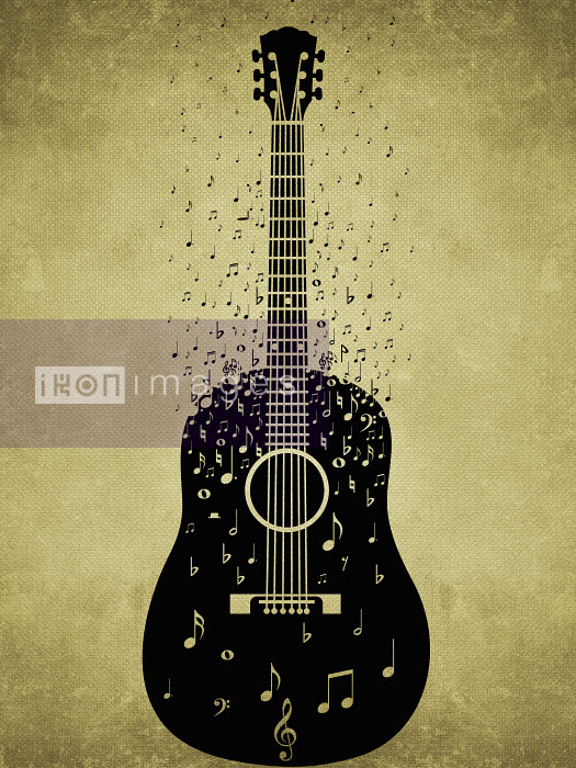 Musical notes floating from guitar - Musical notes floating from guitar - Viviana Gonzalez