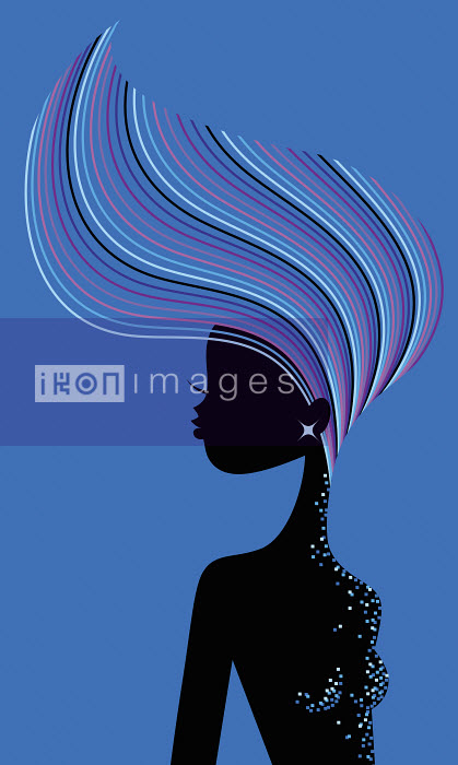 Glamorous woman tossing multicolored hair - Glamorous woman tossing multicolored hair - Kirsten Ulve