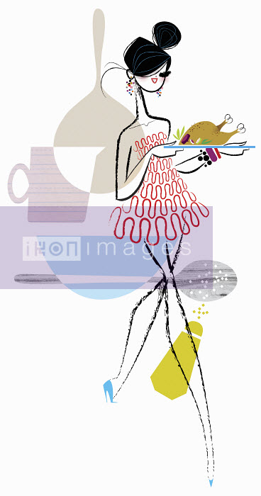 Glamorous woman carrying serving platter with roast turkey - Glamorous woman carrying serving platter with roast turkey - Kirsten Ulve