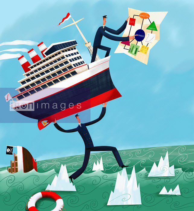 Captain with strategy plan and coworker carrying ship through dangerous waters - Captain with strategy plan and coworker carrying ship through dangerous waters - Gregory Baldwin