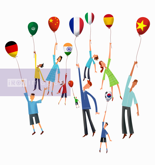People rising holding international flag balloons - People rising holding international flag balloons - Gregory Baldwin