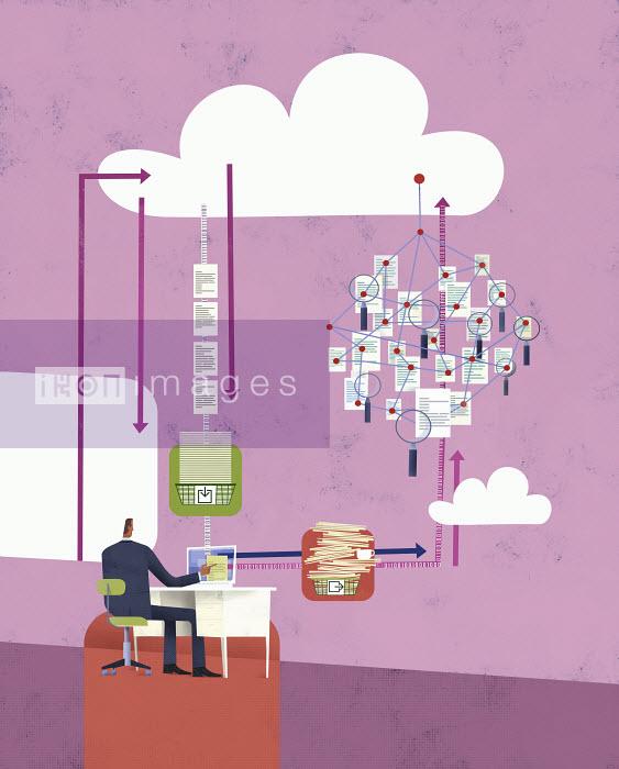 Efficient businessman working on computer using cloud computing - Efficient businessman working on computer using cloud computing - Gregory Baldwin
