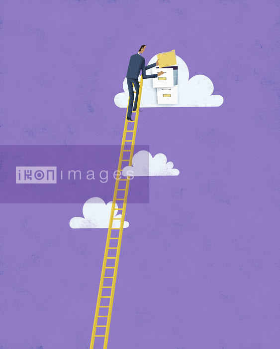 Businessman on top of ladder putting file in cloud computing filing cabinet - Businessman on top of ladder putting file in cloud computing filing cabinet - Gregory Baldwin
