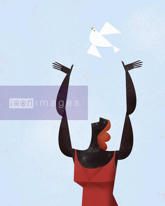Happy woman releasing white bird - Happy woman releasing white bird - Gregory Baldwin