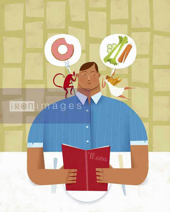 Man choosing between healthy and unhealthy food from menu with angel and devil whispering in ear - Man choosing between healthy and unhealthy food from menu with angel and devil whispering in ear - Gregory Baldwin