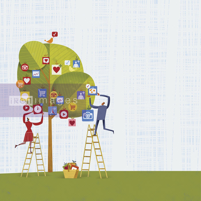 Man and woman picking mobile apps from fruit tree - Man and woman picking mobile apps from fruit tree - Gregory Baldwin