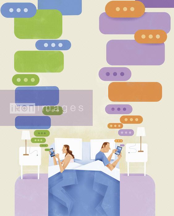 Couple lying in bed texting on smart phones and ignoring each other - Couple lying in bed texting on smart phones and ignoring each other - Gregory Baldwin