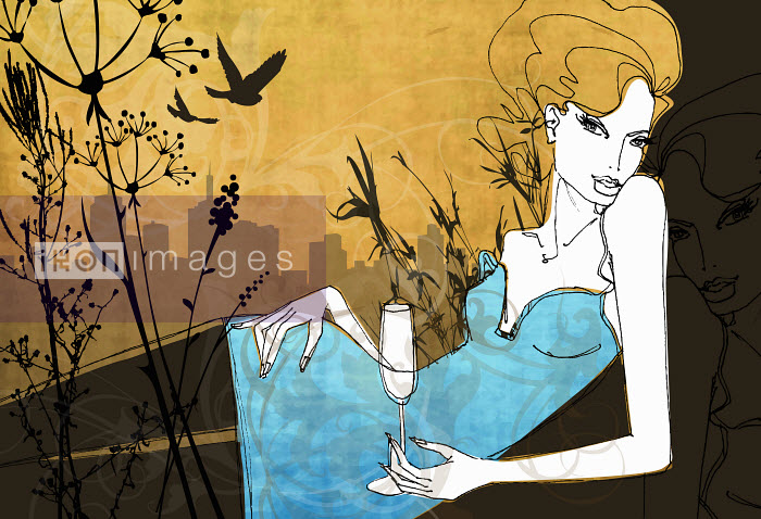 Glamorous woman reclining in city park drinking champagne - Glamorous woman reclining in city park drinking champagne - Nicole Onslow