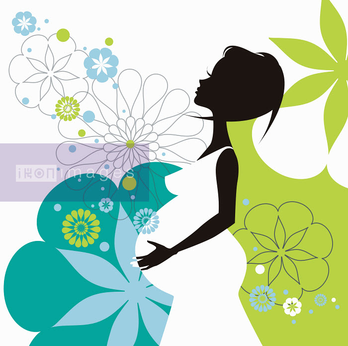 Profile of pregnant woman and floral pattern - Profile of pregnant woman and floral pattern - Nicole Onslow